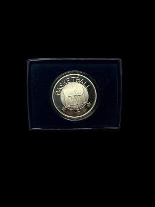 1 oz Silver Basketball Ball Round With Box