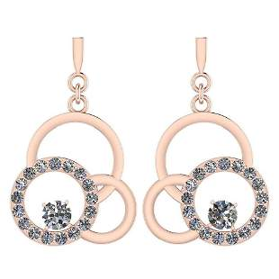 Certified 0.75 Ctw Diamond VS/SI1 Earrings 14K Rose Gol