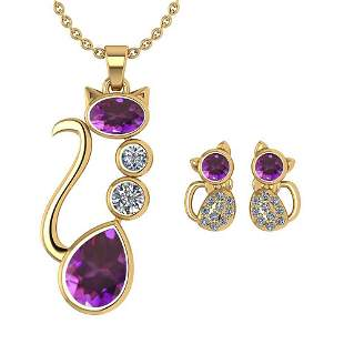 Certified 2.37 Ctw Amethyst And Diamond Cat Necklace +