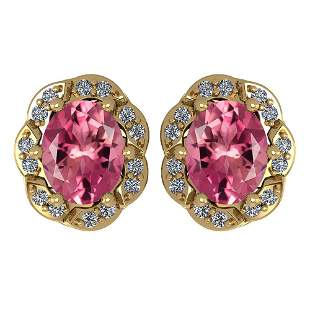 Certified 0.88 Ctw Pink Tourmaline And Diamond 14K Yell