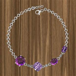 Certified 10.46 Ctw Amethyst And Diamond I2/I3 14K Whit