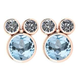 Certified 3.14 Ctw Blue Topaz And Diamond VS/SI1 Earrin