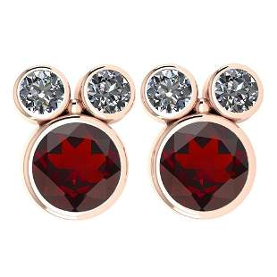 Certified 3.14 Ctw Garnet And Diamond VS/SI1 Earrings 1
