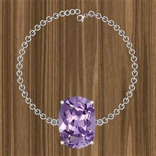 Certified 57.80 Ctw Amethyst And Diamond I2/I3 14K Whit