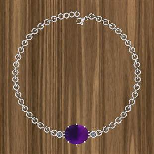 Certified 7.11 Ctw Amethyst And Diamond I2/I3 14K Gold