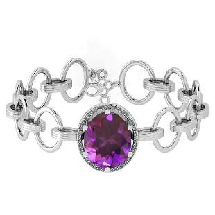 Certified 12.22 Ctw Amethyst And Diamond I2/I3 14K Whit