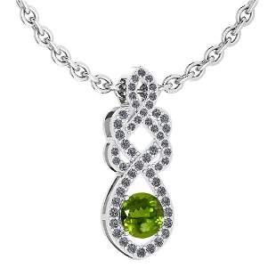 Certified 1.26 Ctw Peridot And Diamond VS/SI1 Necklace