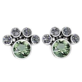 Certified 15.50 Ctw Green Amethyst And Diamond SI2/I1 E