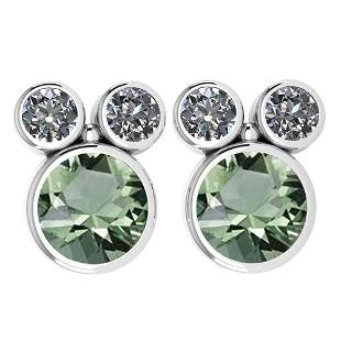 Certified 3.14 Ctw Green Amethyst And Diamond VS/SI1 Ea