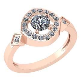 Certified 0.77 Ctw Diamond 14K Rose Gold Halo Ring (SI1
