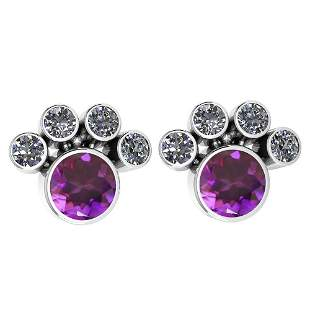 Certified 15.50 Ctw Amethyst And Diamond SI2/I1 Earring
