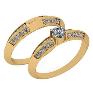 Certified 0.55 Ctw Diamond Engagement Ring 2-Bands Styl