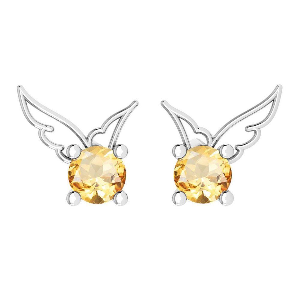 Certified 0.50 Ctw Citrine Stud Earrings 14K Gold White