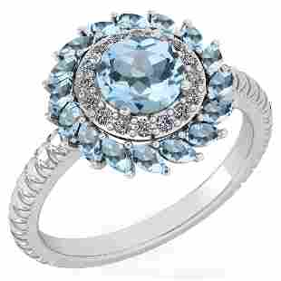 Certified 2.40 Ctw Blue Topaz And Diamond VS/SI1 Halo R