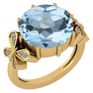 Certified 6.20 Ctw Blue Topaz And Diamond VS/SI1 Ring 1