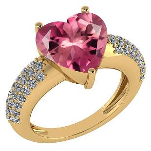 Certified 5.01 Ctw Pink Tourmaline And Diamond VS/SI1 L