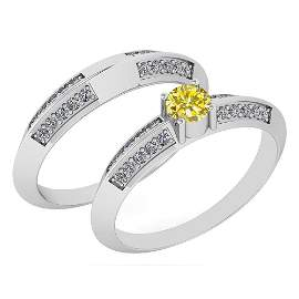 Certified .55 Ctw Treated Fancy Yellow Diamond And Whit