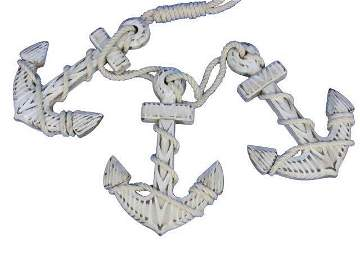 Wooden Rustic Whitewashed Decorative Triple Anchor Set