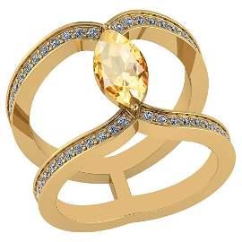 Certified 1.52 Ctw Citrine And Diamond VS/SI1 Ring 14K