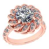 Certified 1.63 Ctw Diamond Wedding/Engagement 14K Rose