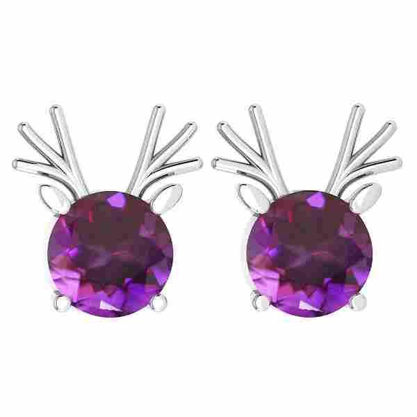 Certified 12.00 Ctw Amethyst Stud Earrings 14K Gold Whi