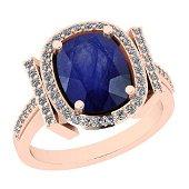 Certified 2.83 Ctw I2/I3 Blue Sapphire And Diamond 14K