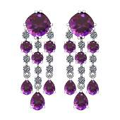 Certified 20.30 Ctw I2/I3 Amethyst And Diamond 14K Whit
