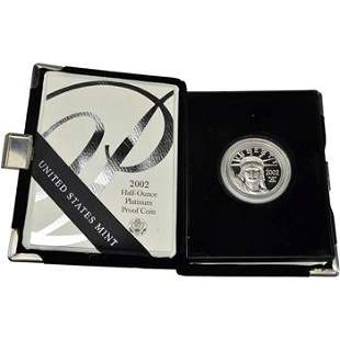 2002 W American Platinum Eagle Proof 1/2 oz $50 in OGP