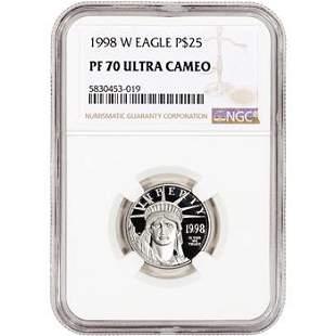 1998 W American Platinum Eagle Proof 1/4 oz $25 NGC PF7