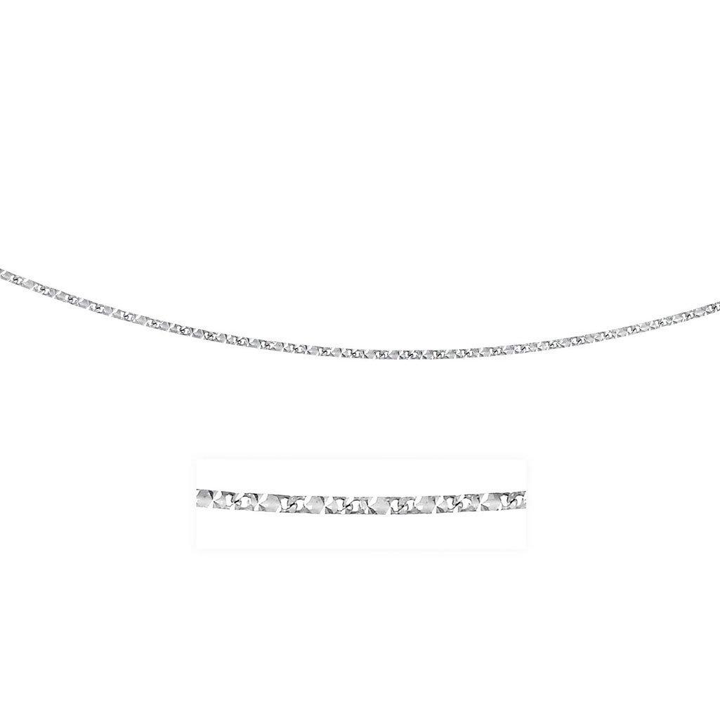 0.8mm 14K White Gold Rectangular Mariner Diamond Cut Ch
