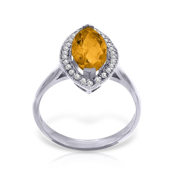 14K. SOLID GOLD RING WITH DIAMONDS & MARQUIS CITRINE