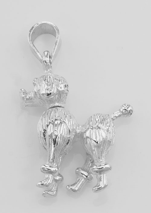 Moveable Poodle Pendant Charm - Movable - Sterling Silv
