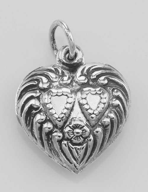 Antique Style Double Heart Charm or Pendant - Sterling
