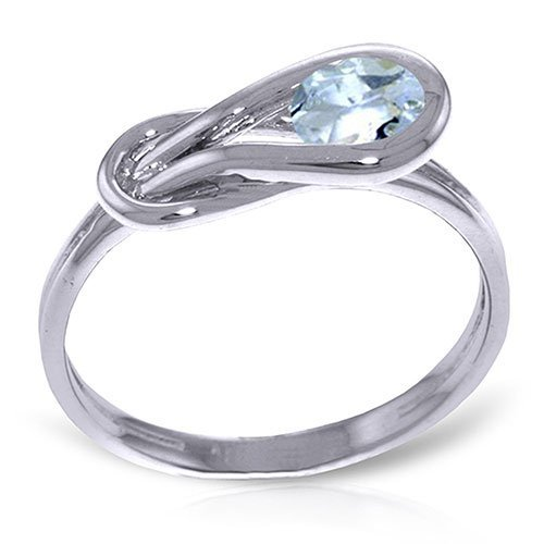 Platinum Plated Sterling Silver Ring with Natural Aquam