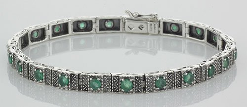 Beautiful Victorian Style Emerald Filigree Link Bracele