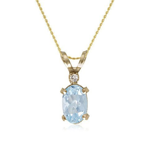 14K Yellow Gold Aquamarine/Diamond Necklace