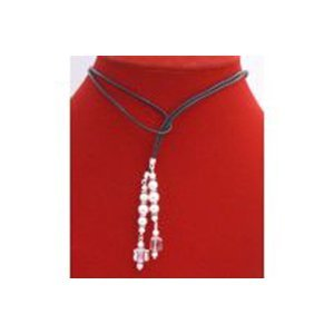 White Pearls Lariat Necklace w/ Swarovski Cube Clear Cr