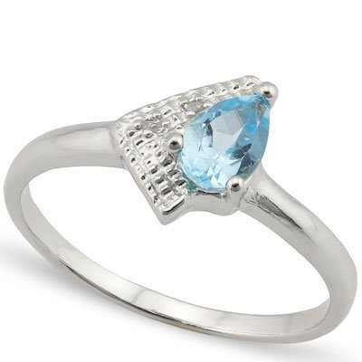 0.48 CT BLUE TOPAZ & GENUINE DIAMOND PLATINUM PLATED .9