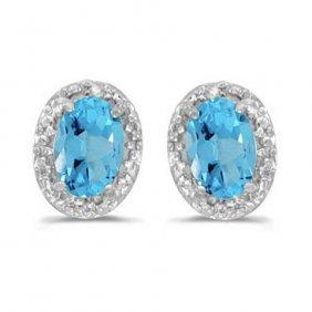 14k White Gold 0.95 Ctw Blue Topaz/diamond Earrings
