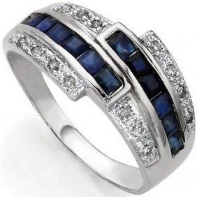 0.84 Ct Genuine Sapphire & White Diamond .925 Sterling