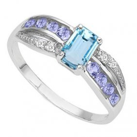 1.451 Ctw Blue Topaz & Genuine Tanzanite Platinum Plate