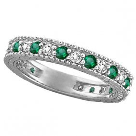 Diamond And Emerald Anniversary Ring Band In 14k White