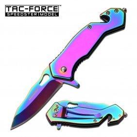 "Tac-force 3.75"" Closed S/a Pocket Knife; Rainbow Ti-coa"