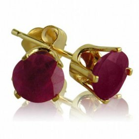 14k Yellow Gold 1.00 Ctw Ruby Stud Earrings
