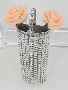 Basket Vase Pin - Sterling Silver - Basket Weave Design