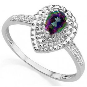0.34 Ctw Mystic Gemstone & Genuine Diamond Platinum Pla