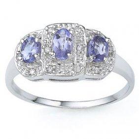 0.47 Ctw Genuine Tanzanite & Genuine Diamond Platinum P