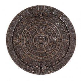 Aztec Calendar Plaque Bronze