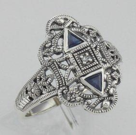 Art Deco Style Sapphire Filigree Ring W/ Diamond - Ster