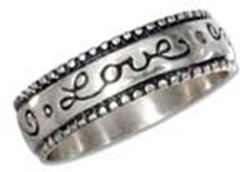 """Sterling Silver """"love"""" Script Band Ring"""